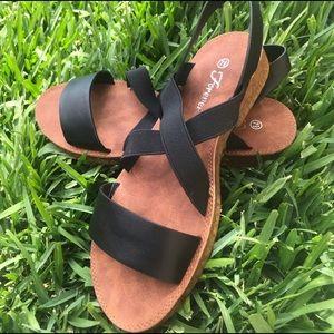 Criss Cross Elastic Strap Sandals